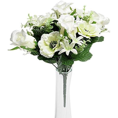 Cesti di campagna Fiori artificiali e le rose di design anemoni di progettazione Bush, crema