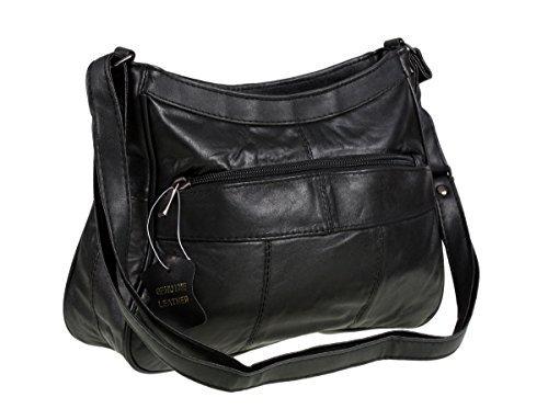 7691 Damen Schulter-Handtasche, weiches italienisches Leder, Schwarz