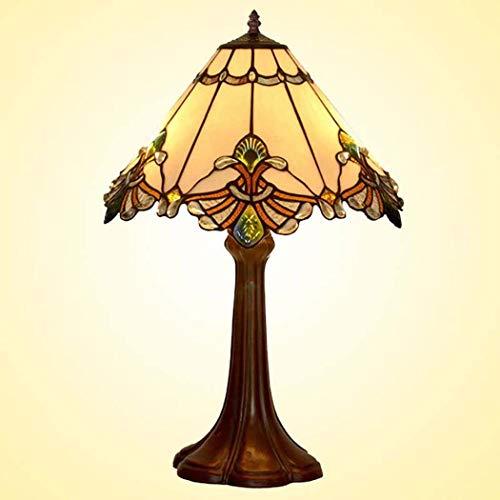 40w Nacht Licht (Tiffany Style Table Lampe, romantisch, Weiß Plaid gestapelte Glastische Lichter, Retro Living Room, Schlafzimmer Dekoration Nacht Licht 40W)