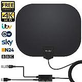 Antena de TV Interior, Oval Negro Antena de TV Digital para Interiores de Alcance de 130KM con Amplificador Inteligente de Señal, Adecuada para Canales de TV Gratis 1080P 4K, Cable Coaxial de 5M