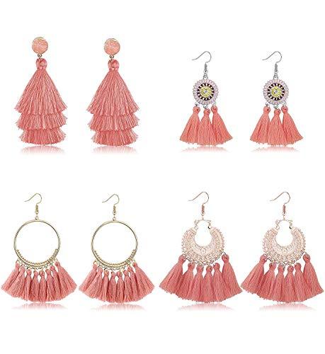 YADOCA 4 Pairs Quaste Ohrringe für Frauen Bunte Lange Layered Thread Baumeln Ohrringe Schwarz Rot Rosa Blau Quaste Drop Haken Ohrringe für Mädchen Modeschmuck Bohemian Style