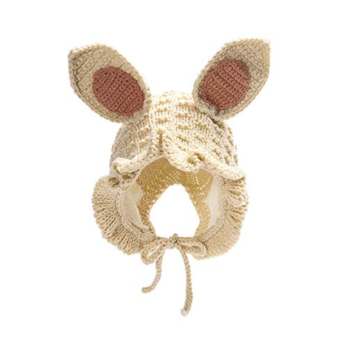 Unbekannt Kinder Hut Herbst und Winter-Modell-handgemachte Kaninchen-Ohr-Spitze-Baby-Strickmütze Plus Samt Warmer Wollmütze Khaki -