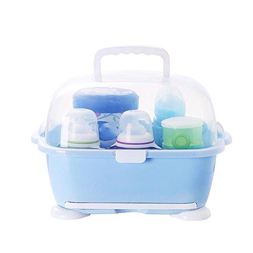 HTTMYY Baby Trockene Rack Abtropfen Lassen Milch-Flasche Geschirr-Aufbewahrungsbox Blau, Rosa, GrüN , blue