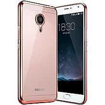 Prevoa ® 丨 Meizu M2 NOTE Funda - Transparent Silicona Carcasa Sencillo Claro Crystal Naturaleza Suave TPU para MEIZU M2 NOTE 5,5 Pulgadas Smartphone - Rosa