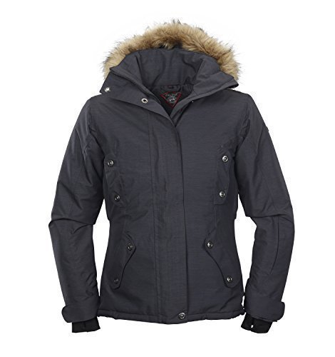 Damen Winter-Jacke | Kurz-Wintermantel mit abtrennbarer Fell-Kapuze von Fifty Five - Fernie anthracite 44 - windddichte und wasserdichte Funktionsbekleidung