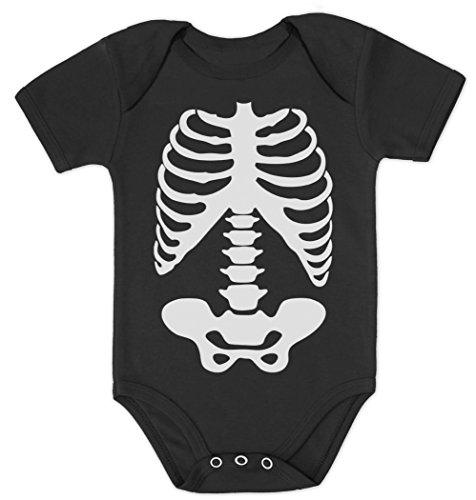 Skelett Schwarz 0-3 Kurzarm-Body Baby (Und Twin 1 Twin 2 Kostüme)