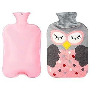 Wärmflasche mit Bezug 2 L, Xpassion wärmekissen, abnehmbare und waschbare Wärmebeutel mit Strickbezug Rollkragen Wärmekissen, Sicher und langlebig geprüft und Frei Von Schadstoffen für kinder