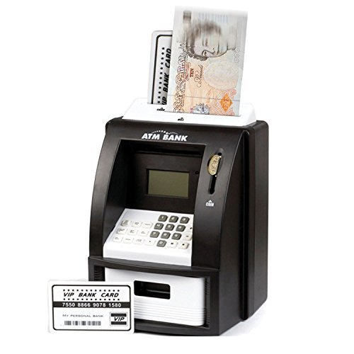 Sentik ATM Machine Mini Home ATM Service Cash Money Machine Saver Piggy Bank Savings Holder Card Pin Digital Display Counter Takes Notes & Coins In BLACK by Sentik (Counter-bank)
