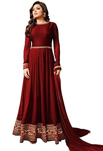 Bipolar Life Women's Special Party Wear Red Color Faux Georgette Embroidery and...