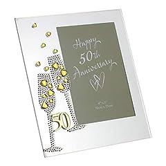 Idea Regalo - Widdop Bingham & Co Ltd WG45450 - Portafoto in vetro, motivo: nozze d'oro, dimensione 4