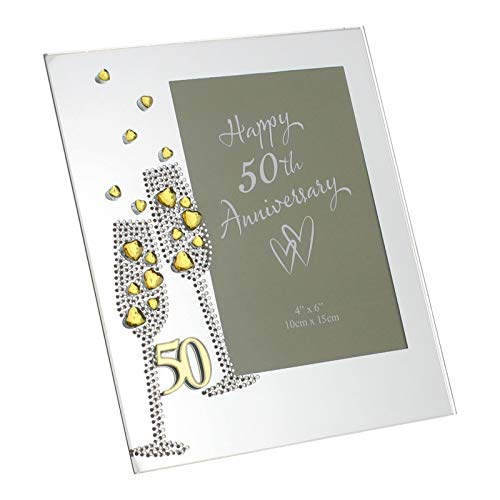 Diamante Champagne Glasses Golden 50th Wedding Anniversary Glass Photo Frame 4
