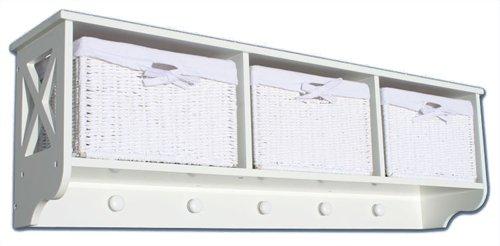 KMH®, Garderoben-Regal mit 3 Körben aus weissem Geflecht im Rattan-Look (#204604)