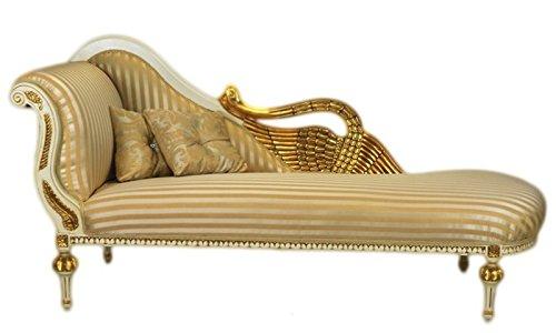 Casa Padrino Barock Luxus Chaiselongue Antik Weiss/Gold - Golden Wings - Luxus Qualität