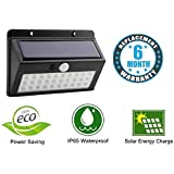 Sampri Bright Waterproof Solar Wireless Security Motion Sensor LED Night Light for Outdoor/Garden Wall (Black) - Set of 30