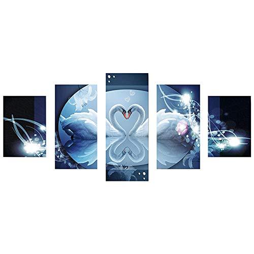 WOBANG-Herren Jacke Schöne 5D Diamant Malerei Kits für Kinder und Erwachsene Schwäne/Schmetterling/Löwenzahn Muster 5 Kombinationsbilder (Mehrfarbig -A)