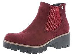 Rieker Damen Stiefel 99284, Frauen Winterstiefel, Winter-Boots halbschaftstiefel gefüttert warm Damen Frauen weibliche Lady,vino,39 EU / 6 UK