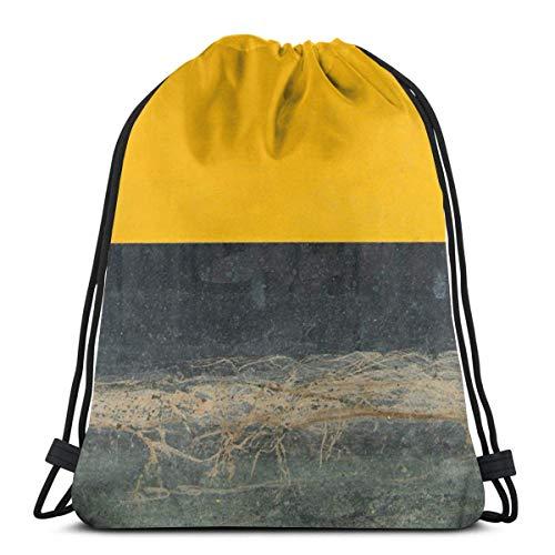 Yellow On Blue Drawstring Backpack Gym Sackpack for Men & Women School Travel Bag -