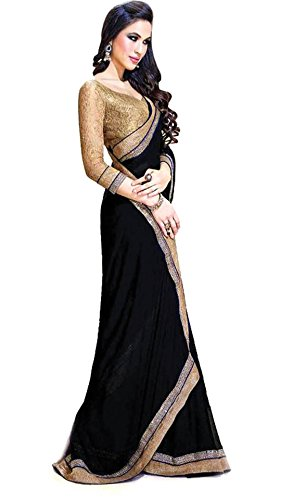 Sarees for Women's Clothing Saree For Women Latest Design Wear Sarees Collection in Black Coloured chiffon Material Latest Saree With Designer Blouse Free Size Beautiful Bollywood Saree For Women Party Wear Offer Designer Sarees With Blouse Piece  available at amazon for Rs.249