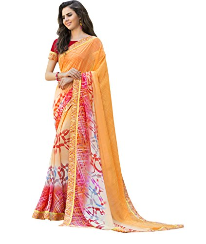 Indian Ethnicwear Bollywood Faux Georgette Peach Coloured Printed Saree (Georgette Peach)