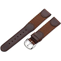 Hadley-Roma Men's MSM866RB 190 19-mm Brown 'Swiss-Army' Style Nylon and Leather Watch Strap