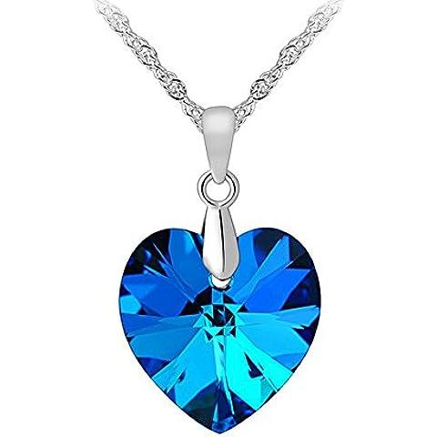 Donna cuore collana del pendente con SWAROVSKI ELEMENTS Cristallo Blu. Catene in argento Sterling 925/Placcato Oro. Bella Scatola Gioielli.
