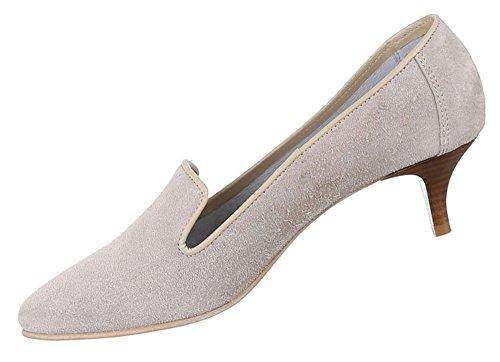 Damen Schuhe Pumps Bequeme Komfort Leder Hellgrau