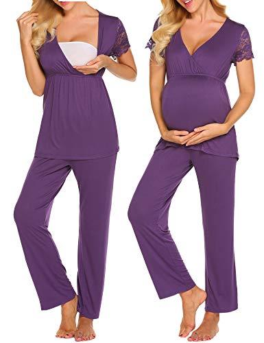 MAXMODA Damen Stillpyjama Set mit einstellbares Gumiband Hose Umstand Hausanzug L