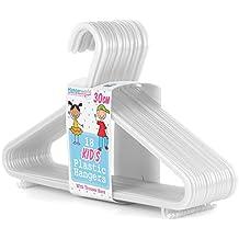 Hangerworld - Perchas De Plástico Para Niños Con Barra, Color Blanco, 30 cm, 18 Unidades