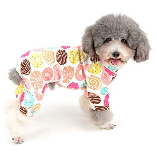 (Zunea Schlafanzug für kleine Hunde, mit Donut-Banana-Motiv, mit Enten-Fußball-Muster, Unisex, Vier Beinen, Schlafanzug aus Baumwolle)