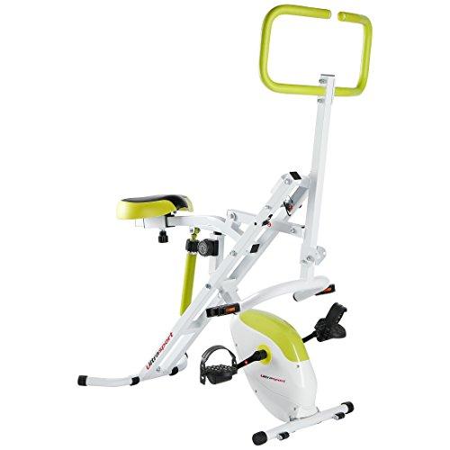 Ultrasport Hometrainer Horserider plus F-Bike, 2-in-1 Fitnessbike und Bauchtrainer in einem, Sportgerät, Ganzkörpertraining für Bauch Beine Po, Cardiotrainer, belastbar bis 110 kg, Weiß/Grün