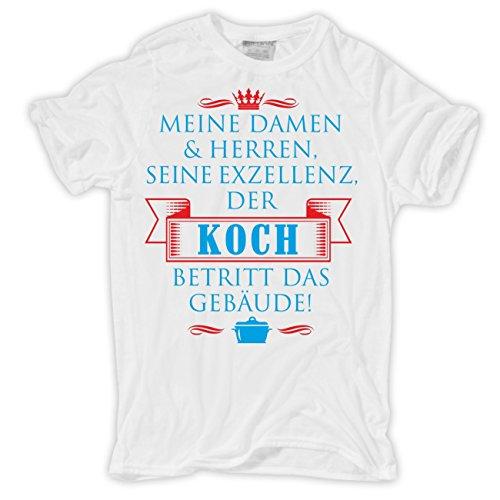 Männer und Herren T-Shirt Seine Exzellenz DER KOCH Weiß