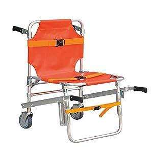 XIHAA Treppenstuhl, Faltbarer Medizinischer Notfall-Einzelne Personen-Operations-Treppenstuhl, Sanitäter-Geduldiger Transport 2 Rad Evakuierungs-Stuhl, Orange Belastbarkeit: 350 Lbs