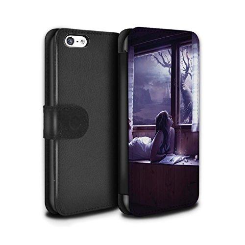 Officiel Elena Dudina Coque/Etui/Housse Cuir PU Case/Cover pour Apple iPhone 5C / Coeur flamboyant Design / Art Amour Collection Distraits