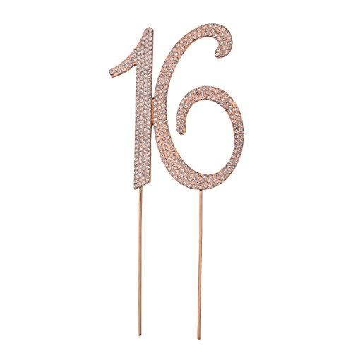 Toyvian Cake Topper Kuchen Topper Strass 16 Zahlen Kuchendeckel für 16. Geburtstag Hochzeitstag Party Dekorationen (Golden)