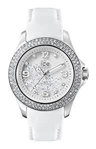 ICE-Watch - CY.SRW.U.L.14 - Ice Crystal - Montre Femme - Quartz Analogique - Cadran Blanc - Bracelet Cuir Blanc