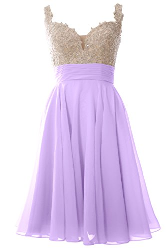 MACloth Women Straps Short Prom Dress Lace Chiffon Wedding Party Formal Gown (Custom Size, Lavendel) (Lavendel Womens Bras)