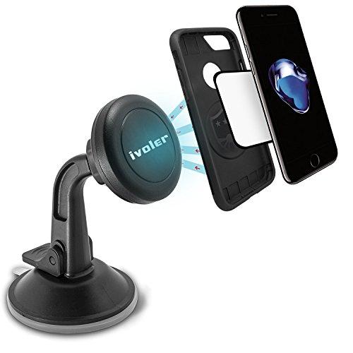 iVoler Universal Kfz Handyhalterung Auto Magnetisch,360°Drehbar Windschutzschieb Armaturenbrett Handyhalter für iPhone 7 / 7 Plus / 6S / 6 / SE / 5S / 5,Samsung Galaxy S5/S4 , Motorola, Nokia, BlackBerry,LG,HTC und weitere Smartphones(Schwarz)