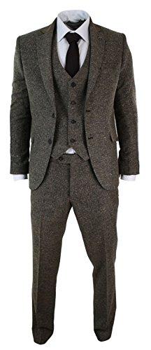 Herrenanzug Braun 3 Teilig Fischgräte Tweed Design Eng Tailliert Vintage (Anzüge Enge)