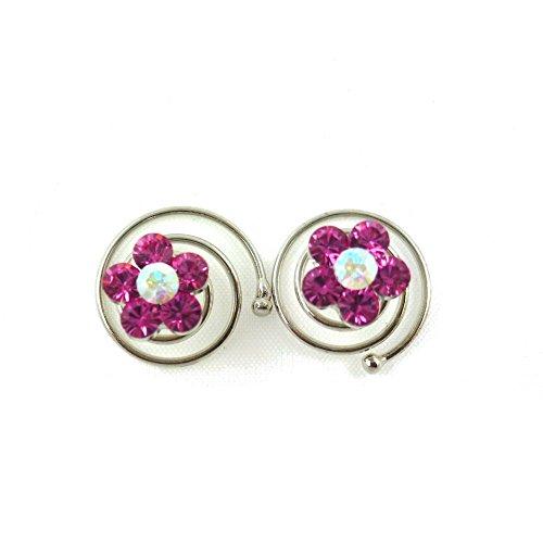 rougecaramel - Accessoires cheveux - Spirale à cheveux en cristal pour mariage 2pcs - rose