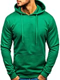 BOLF Herren Kapuzenpullover Hoodie Sweatshirt Basic Sport Style 5361 Grün L [1A1]