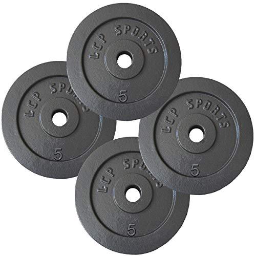 20 kg Hantelscheiben Set | 4 x 5 kg Gusseisen Gewichte | 30/31 mm Bohrung