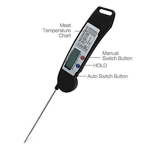 TopEUR Barbecue Fleisch-Thermometer ultra schnelle Instant lesen digitale Thermometer faltbare Sonde für Küche im Freien - 3