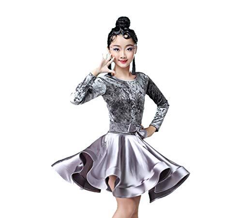 Latin Kostüm Jazz - SMACO Mädchen Karneval Jazz Dancewear Kostüm Kinder Moderne Latin Ballsaal Party Tanzen Kleid Kind Tanzen Kleid Tragen Kleidung für Mädchen,Grau,160CM