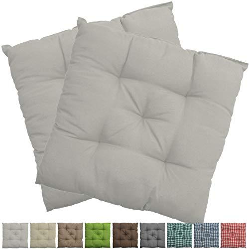 nxtbuy Stuhlkissen 2er Set 38x38 cm Weiß - Gepolstertes Sitzkissen für Indoor und Outdoor - in vielen Farben erhältlich -