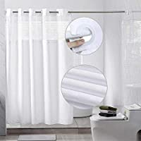 Encozy Hookless Shower Curtain with Removable Polyester Liner 2 weighted magnets and Translucent See-Through Window (White Pane, 180x188cm)