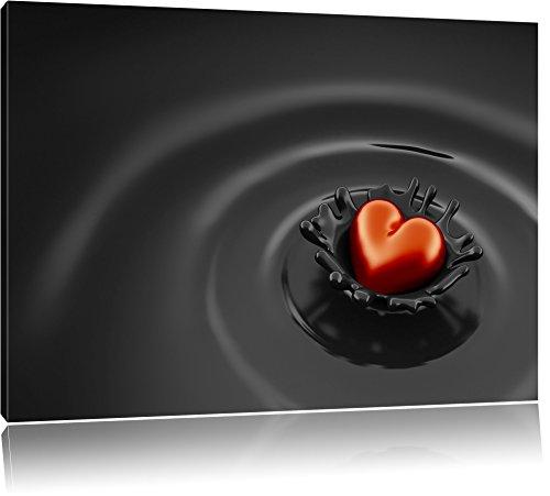 Schokolade Dunkle Mit Roten Herzen (Rotes Herz in Schokolade schwarz/weiß Format: 80x60 auf Leinwand, XXL riesige Bilder fertig gerahmt mit Keilrahmen, Kunstdruck auf Wandbild mit Rahmen, günstiger als Gemälde oder Ölbild, kein Poster oder Plakat)
