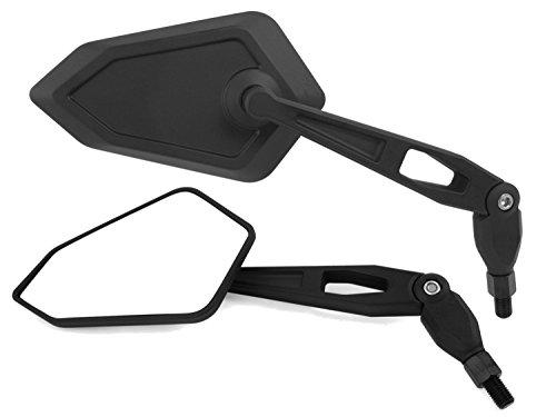 Universal Motorrad Rückspiegel Spiegel Set, e-geprüft (schwarz, 2x M10 Rechtsgewinde)