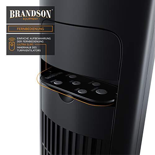 Brandson – Turmventilator mit Fernbedienung 108 cm | Ventilator 10° neigbar | Standventilator mit Oszilation | 65° oszillierend | 3 Geschwindigkeiten 4 Lüftungs-Modi Timer | GS | Nachtschwarz Bild 3*