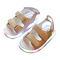 EdBerk74 Fashion LED Lamps Baby Boys Girls Beach Sandals PU Leather Upper Magic Tape Summer Shoes Breathable Flat Baby Shoes-Yellow(23)