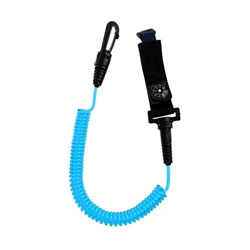 MagiDeal Paddle Leash - Paddel Leine für Paddelsicherung Kompass Angelrute Bootshaken Boots- Werkzeug Sicherungsleine, Spiralkabel mit Karabinerhaken und Schlaufe - Blau